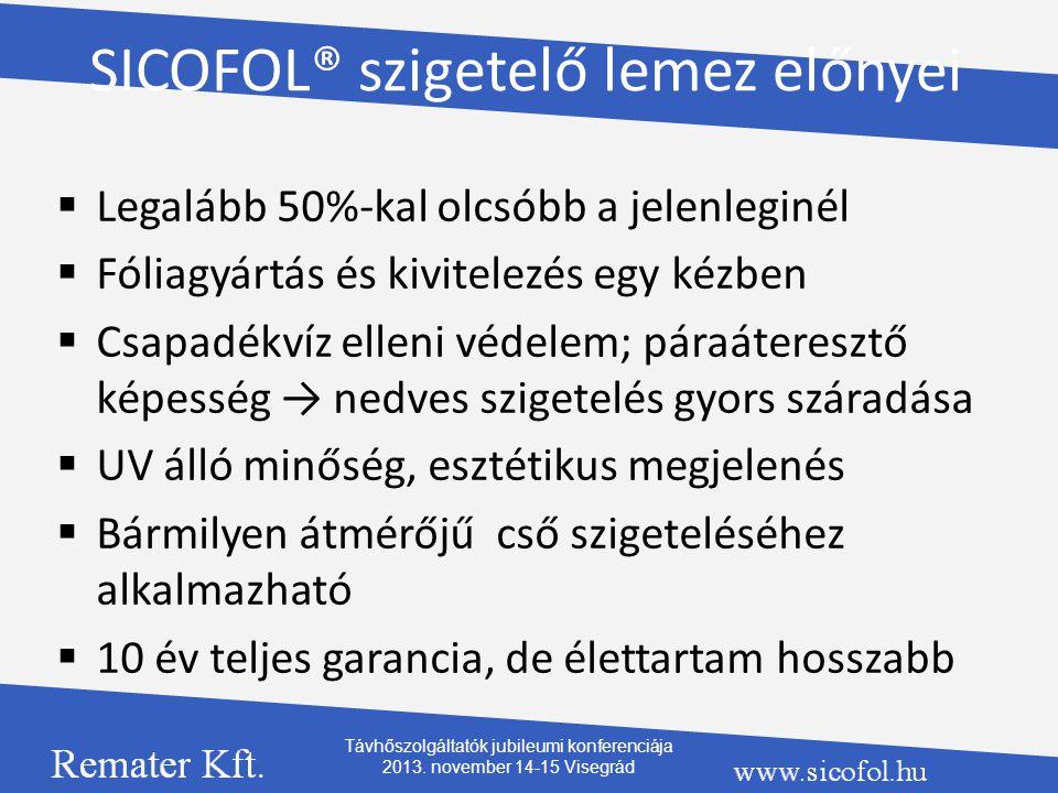 SICOFOL® szigetelő lemez előnyei  Legalább 50%-kal olcsóbb a jelenleginél  Fóliagyártás és kivitelezés egy kézben  Csapadékvíz elleni védelem; pára