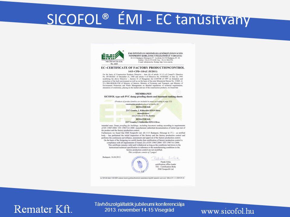 SICOFOL® ÉMI - EC tanúsítvány