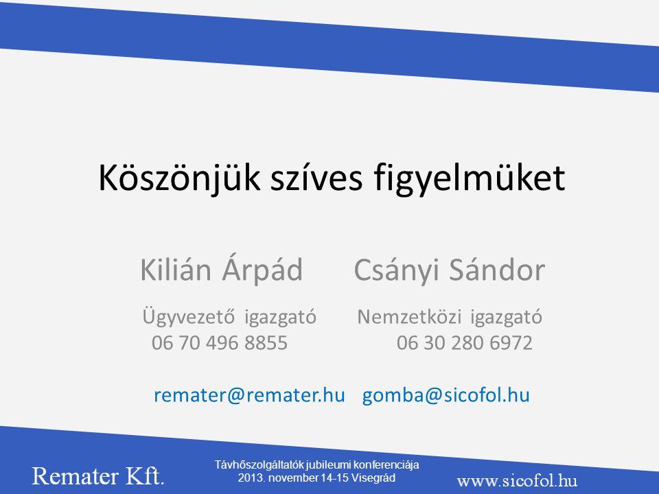 Köszönjük szíves figyelmüket Kilián Árpád Csányi Sándor Ügyvezető igazgató Nemzetközi igazgató 06 70 496 8855 06 30 280 6972 remater@remater.hu gomba@