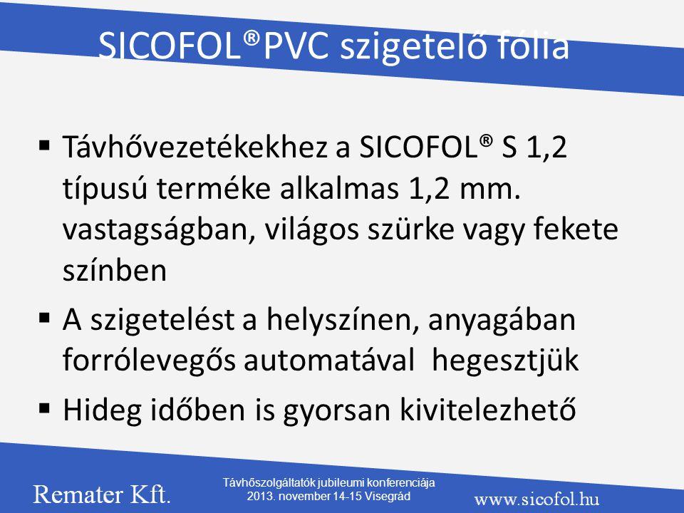 SICOFOL®PVC szigetelő fólia  Távhővezetékekhez a SICOFOL® S 1,2 típusú terméke alkalmas 1,2 mm. vastagságban, világos szürke vagy fekete színben  A