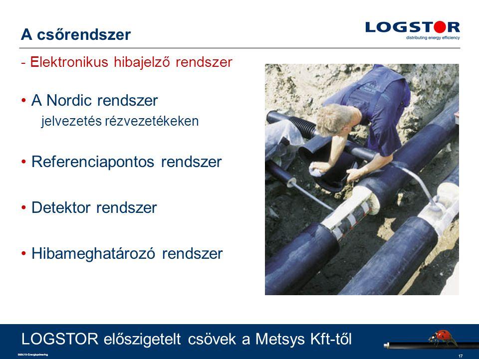17 090610-Energioptimering A csőrendszer - Elektronikus hibajelző rendszer A Nordic rendszer jelvezetés rézvezetékeken Referenciapontos rendszer Detek