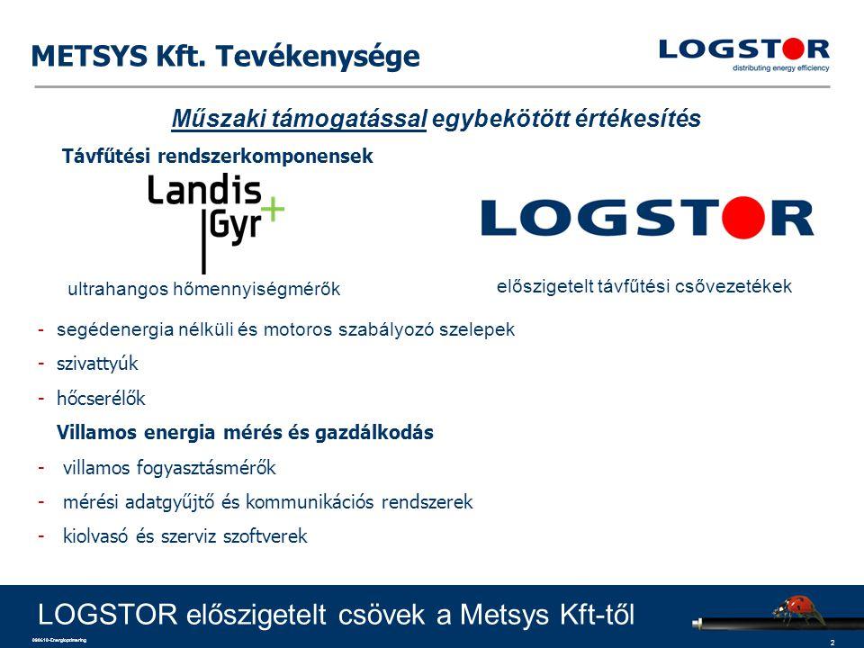 3 090610-Energioptimering A LOGSTOR mint vállalat Globális vezető és specialista az előszigetelt csőrendszerek területén: –Költséghatékony rendszerek és technológiák –Energiahatékony megoldások LOGSTOR előszigetelt csövek a Metsys Kft-től