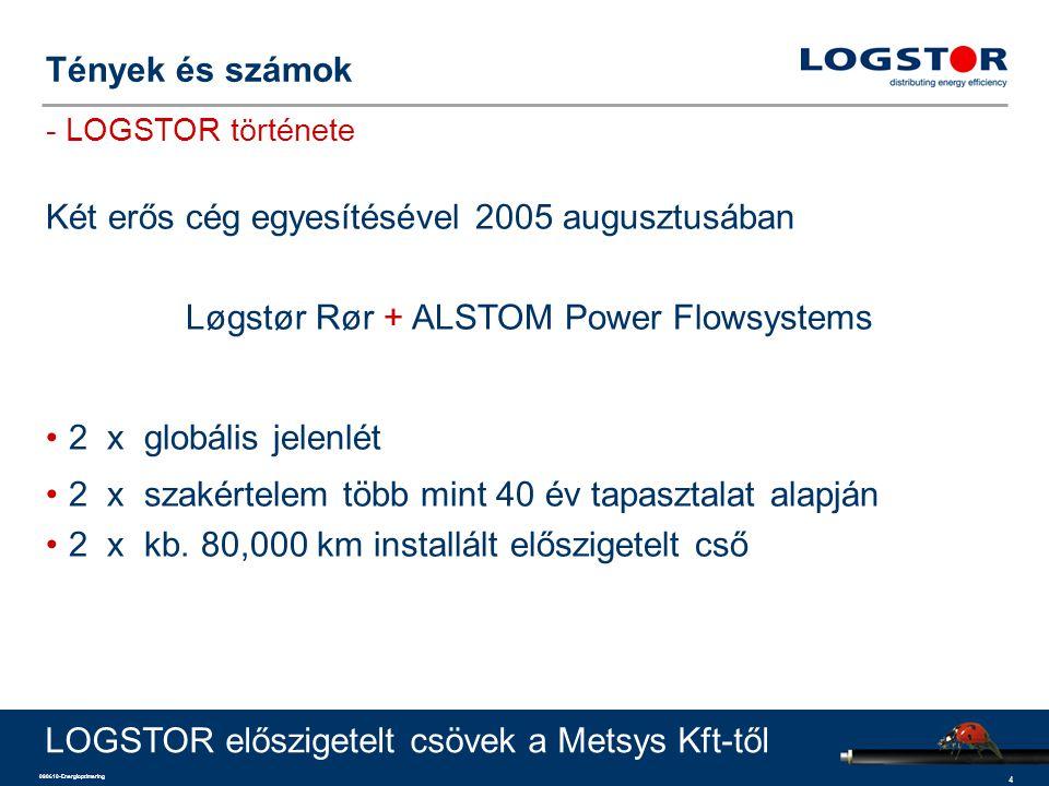 4 090610-Energioptimering Két erős cég egyesítésével 2005 augusztusában Løgstør Rør + ALSTOM Power Flowsystems 2 x globális jelenlét 2 x szakértelem t