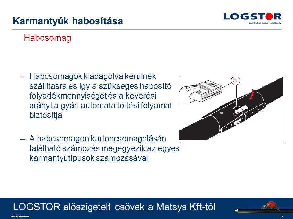 16 090610-Energioptimering Karmantyúk habosítása Habcsomag LOGSTOR előszigetelt csövek a Metsys Kft-től –Habcsomagok kiadagolva kerülnek szállításra é