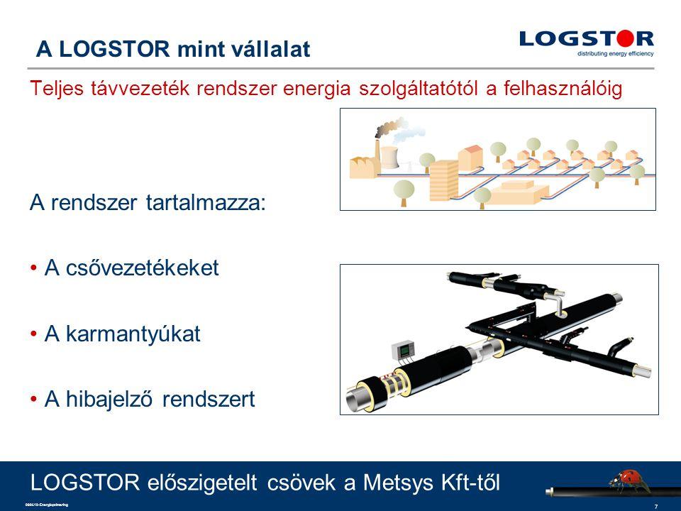 7 090610-Energioptimering A LOGSTOR mint vállalat Teljes távvezeték rendszer energia szolgáltatótól a felhasználóig A rendszer tartalmazza: A csővezet