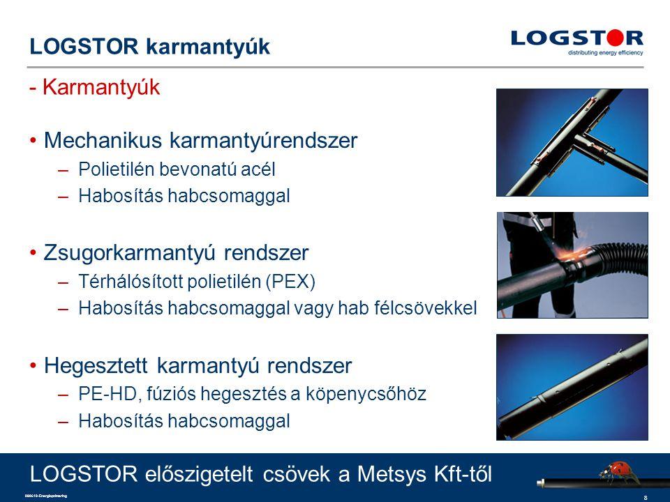 9 090610-Energioptimering LOGSTOR karmantyúk SXB ívkarmantyú LOGSTOR előszigetelt csövek a Metsys Kft-től –Ø90-315 mm köpenycső méretű csövek csatlakoztatására –0-90°-os irányváltáshoz –zsugorítható végei egy méretfokozattal csökkenthetők –Minden szokásos tulajdonságú talajban és minden beépítési módszerrel