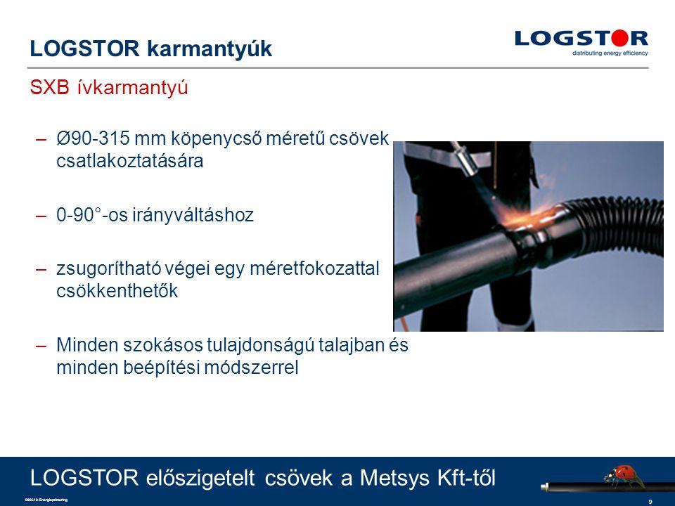 9 090610-Energioptimering LOGSTOR karmantyúk SXB ívkarmantyú LOGSTOR előszigetelt csövek a Metsys Kft-től –Ø90-315 mm köpenycső méretű csövek csatlako