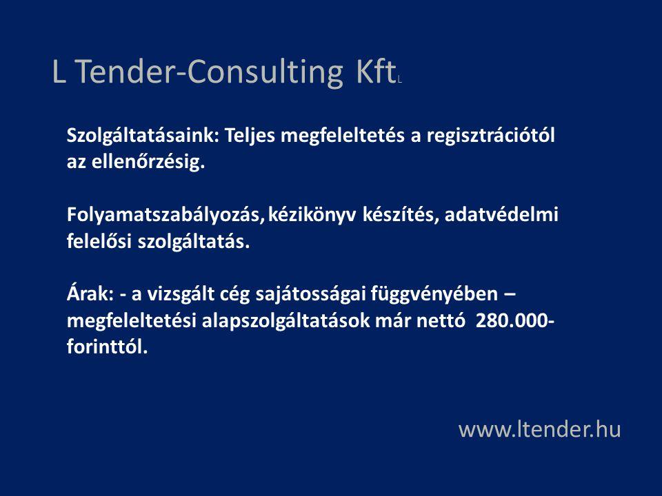 L Tender-Consulting Kft L www.ltender.hu Szolgáltatásaink: Teljes megfeleltetés a regisztrációtól az ellenőrzésig. Folyamatszabályozás, kézikönyv kész