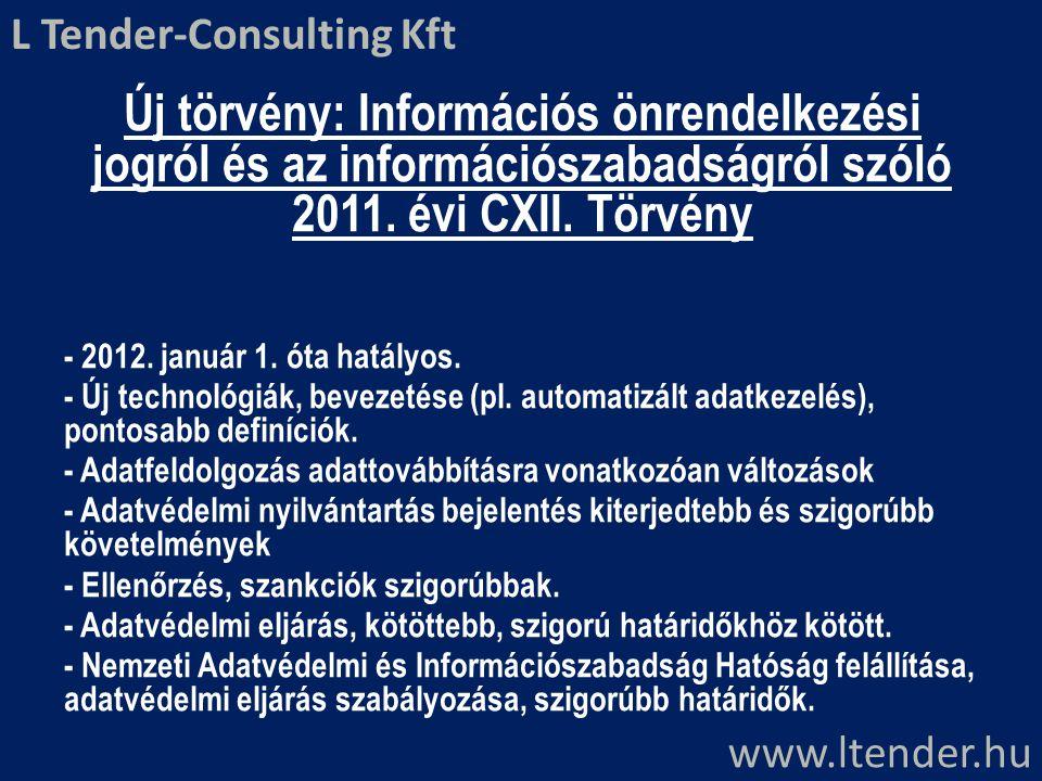 Új törvény: Információs önrendelkezési jogról és az információszabadságról szóló 2011. évi CXII. Törvény - 2012. január 1. óta hatályos. - Új technoló