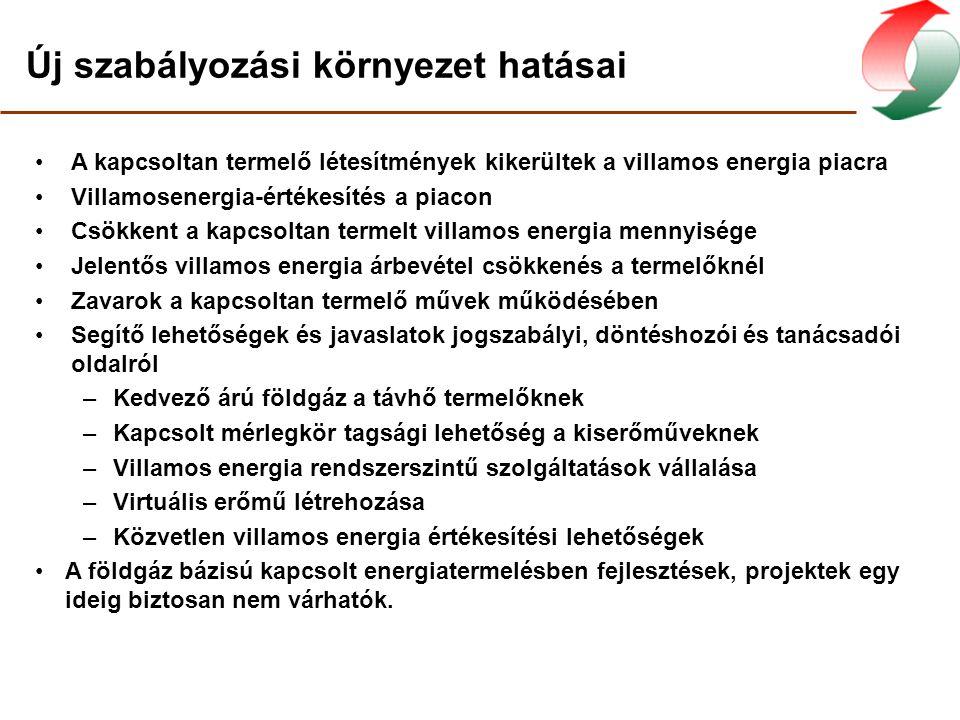 Kapcsolt villamosenergia-termelés előzetes Forrás: Dr. Stróbl Alajos