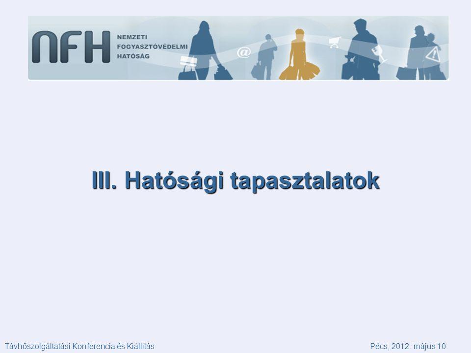 III. Hatósági tapasztalatok Távhőszolgáltatási Konferencia és KiállításPécs, 2012. május 10.
