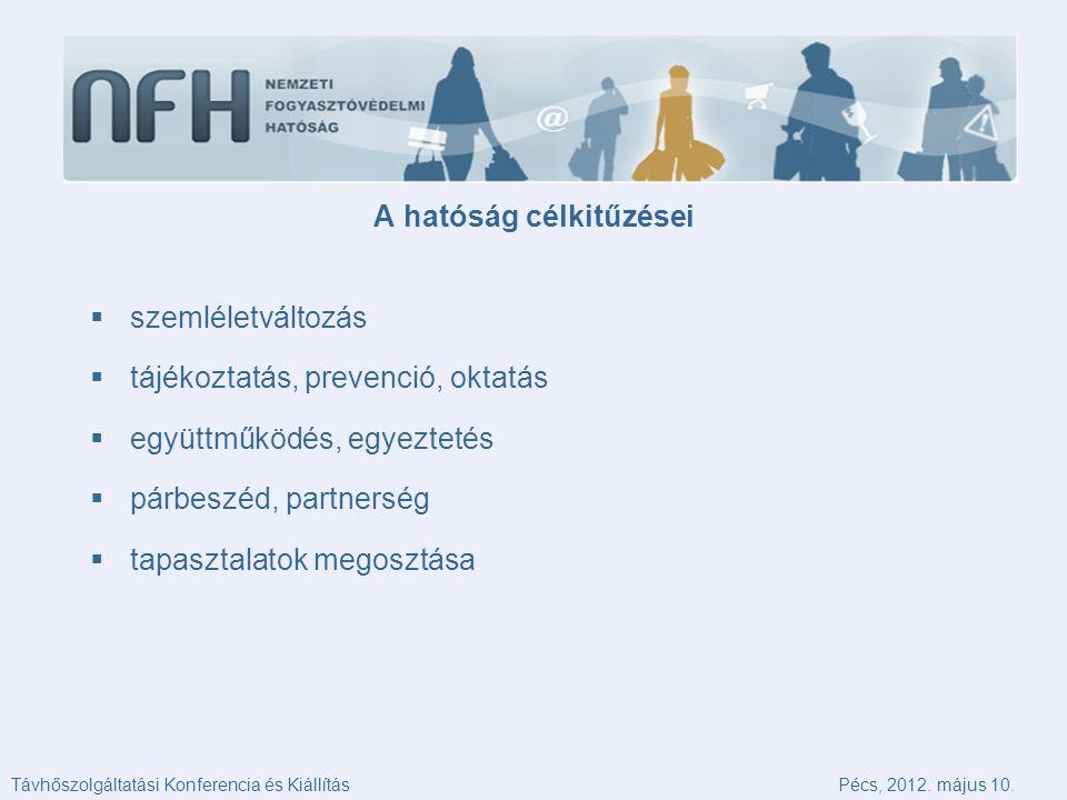  szemléletváltozás  tájékoztatás, prevenció, oktatás  együttműködés, egyeztetés  párbeszéd, partnerség  tapasztalatok megosztása A hatóság célkitűzései Távhőszolgáltatási Konferencia és KiállításPécs, 2012.