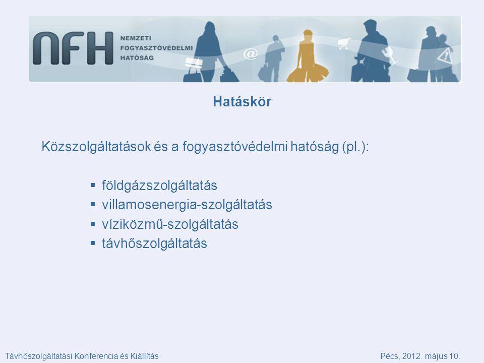 Hatáskör Közszolgáltatások és a fogyasztóvédelmi hatóság (pl.):  földgázszolgáltatás  villamosenergia-szolgáltatás  víziközmű-szolgáltatás  távhőszolgáltatás Távhőszolgáltatási Konferencia és KiállításPécs, 2012.