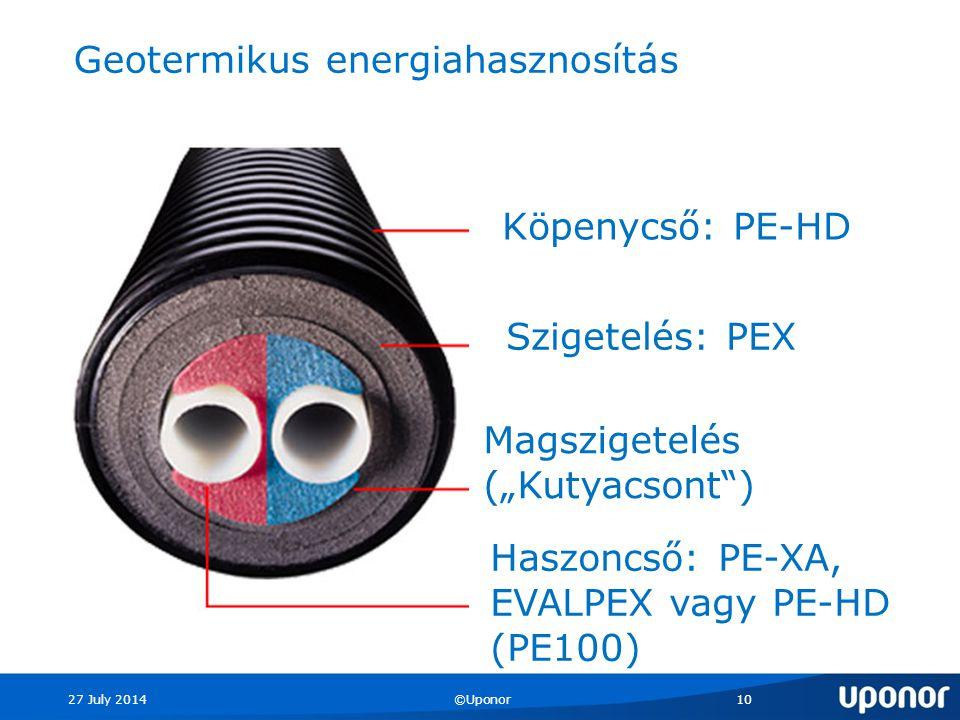 """27 July 2014©Uponor10 Köpenycső: PE-HD Szigetelés: PEX Magszigetelés (""""Kutyacsont ) Haszoncső: PE-XA, EVALPEX vagy PE-HD (PE100) Geotermikus energiahasznosítás"""