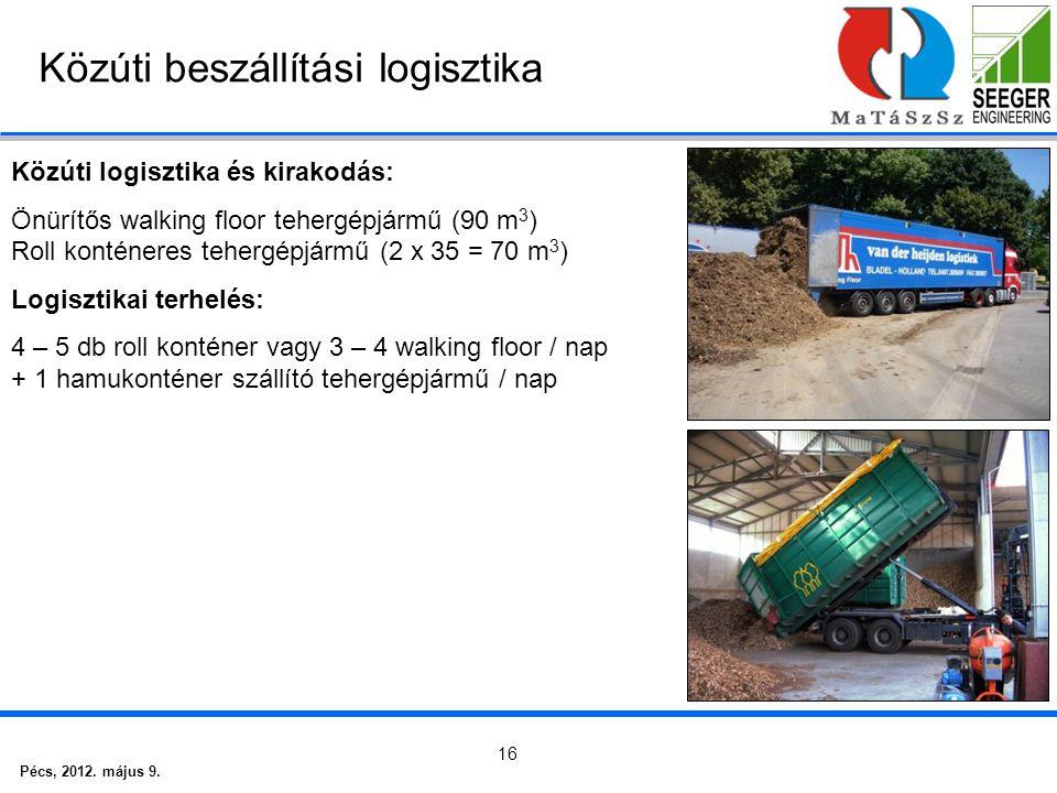 Pécs, 2012. május 9. 16 Közúti beszállítási logisztika Közúti logisztika és kirakodás: Önürítős walking floor tehergépjármű (90 m 3 ) Roll konténeres