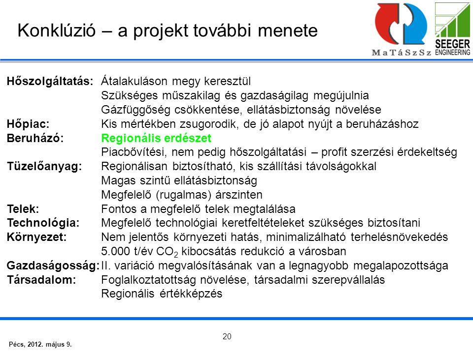 Pécs, 2012. május 9. 20 Konklúzió – a projekt további menete Hőszolgáltatás:Átalakuláson megy keresztül Szükséges műszakilag és gazdaságilag megújulni