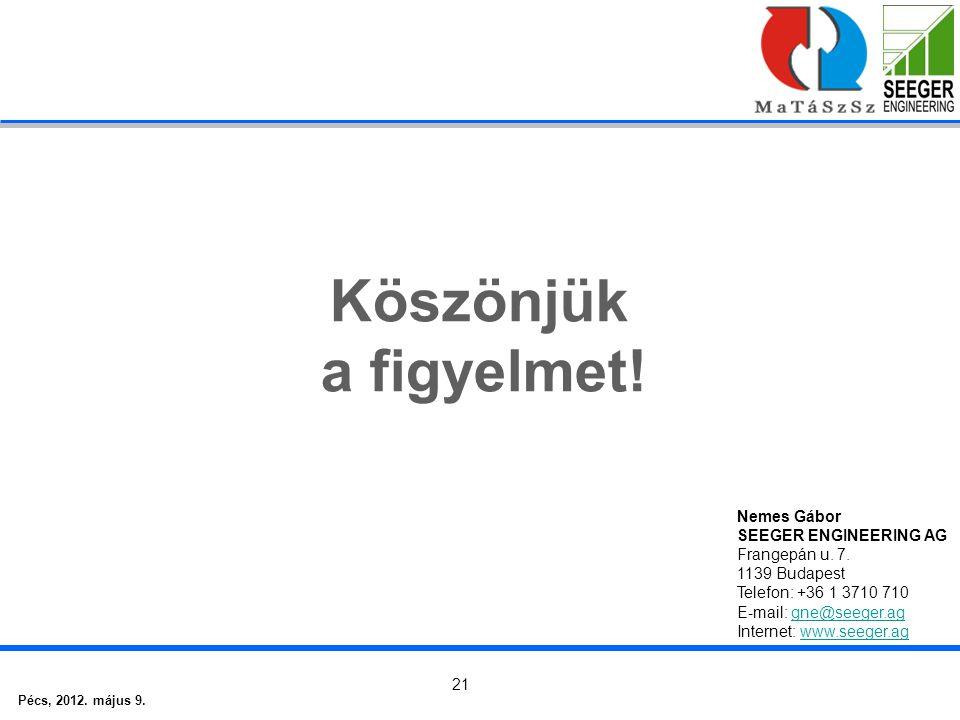 Pécs, 2012. május 9. 21 Köszönjük a figyelmet. Nemes Gábor SEEGER ENGINEERING AG Frangepán u.