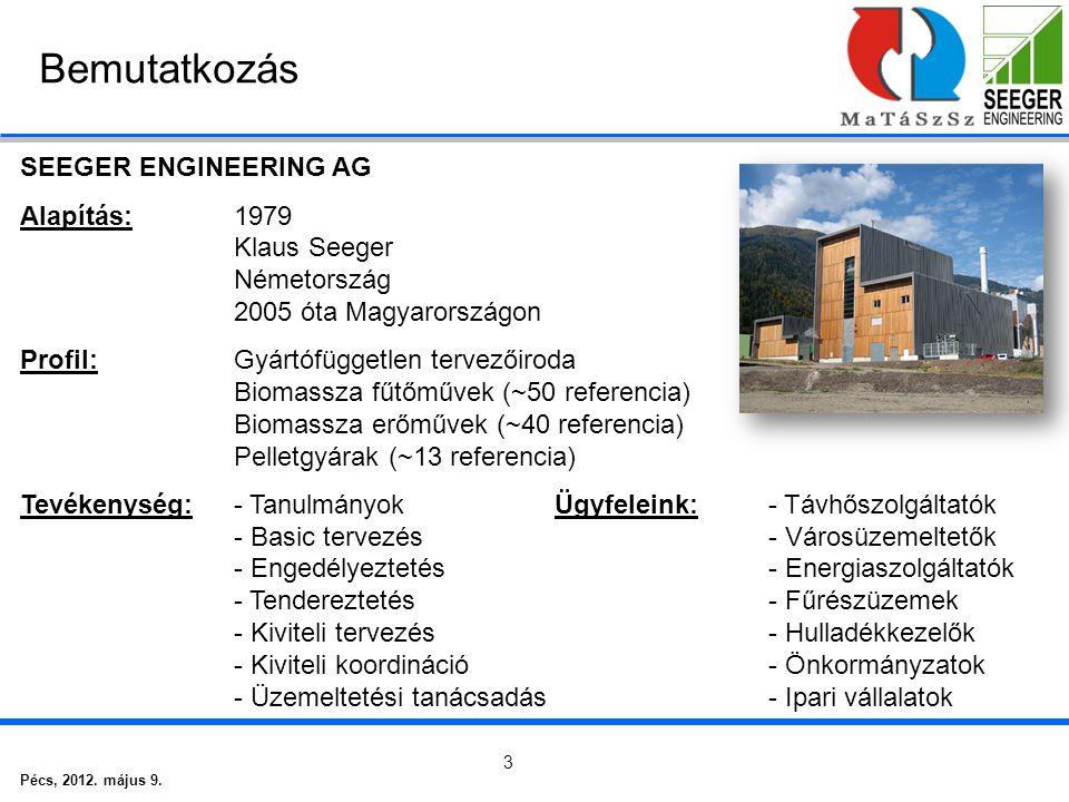 Pécs, 2012. május 9. 3 Bemutatkozás SEEGER ENGINEERING AG Alapítás:1979 Klaus Seeger Németország 2005 óta Magyarországon Profil:Gyártófüggetlen tervez