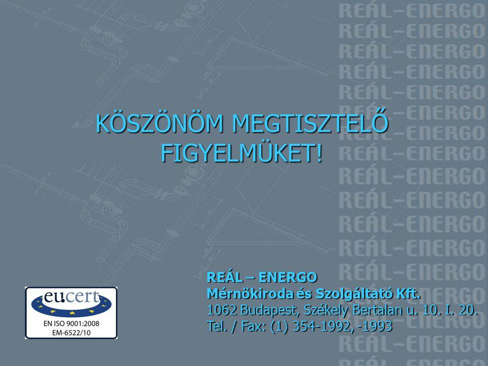 KÖSZÖNÖM MEGTISZTELŐ FIGYELMÜKET! REÁL – ENERGO Mérnökiroda és Szolgáltató Kft. 1062 Budapest, Székely Bertalan u. 10. I. 20. Tel. / Fax: (1) 354-1992