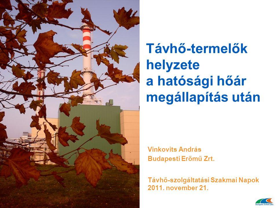 Távhő-termelők helyzete a hatósági hőár megállapítás után Vinkovits András Budapesti Erőmű Zrt. Távhő-szolgáltatási Szakmai Napok 2011. november 21.