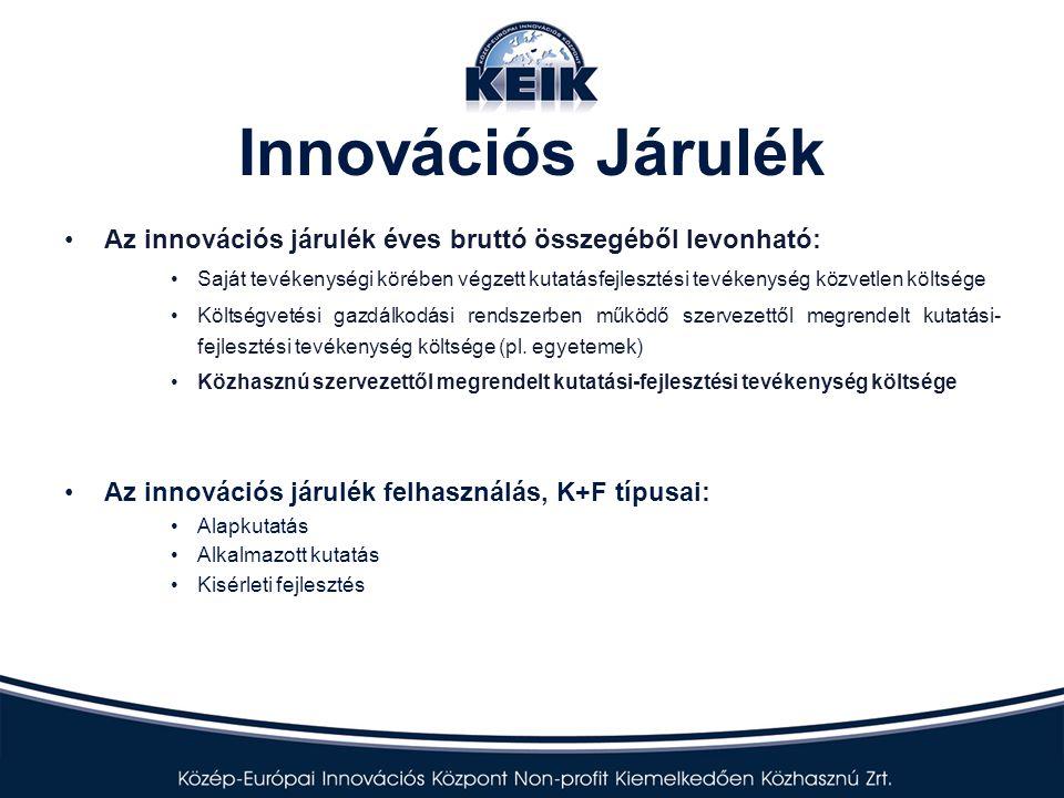 Kutatás – Fejlesztés típusai Kutatás - Fejlesztés típusai Alapkutatás új ismeretek szerzése (tudásbővítés) az adott területen (legalább az adott feladat megoldásában résztvevő, szakmailag képzett személyeknek kell új ismeretekre szert tenniük); Alkalmazott kutatás új alkalmazási lehetőségek feltárása (pl.