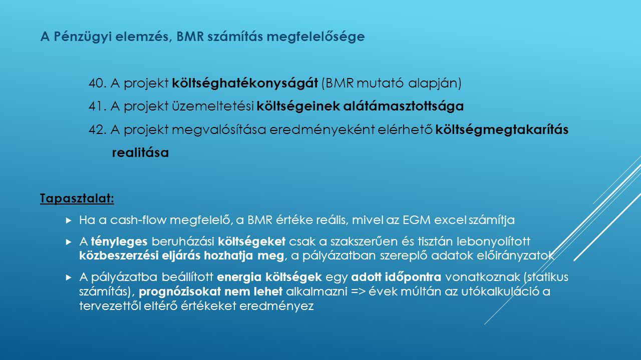 A Pénzügyi elemzés, BMR számítás megfelelősége 40. A projekt költséghatékonyságát (BMR mutató alapján) 41. A projekt üzemeltetési költségeinek alátáma