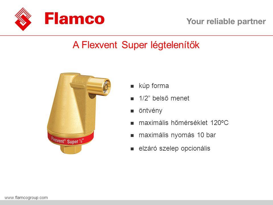 Flamco Group www.flamcogroup.com A Flexvent Super légtelenítők n kúp forma n 1/2 belső menet n öntvény n maximális hőmérséklet 120ºC n maximális nyomás 10 bar elzáró szelep opcionális
