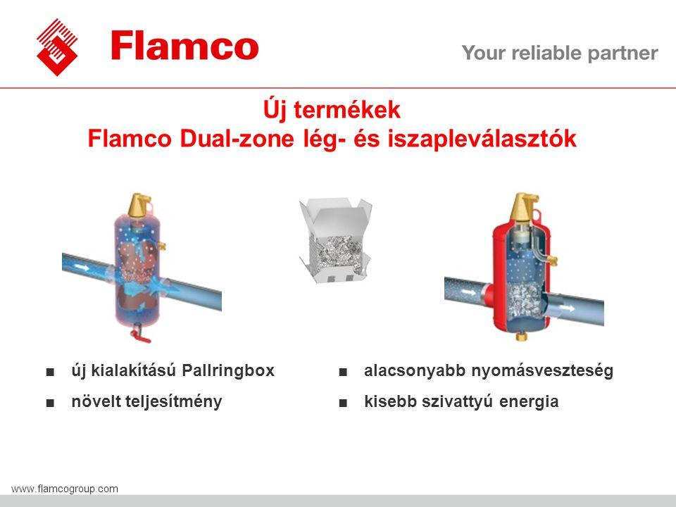 Flamco Group www.flamcogroup.com Új termékek Flamco Dual-zone lég- és iszapleválasztók ■ új kialakítású Pallringbox ■ növelt teljesítmény ■ alacsonyabb nyomásveszteség ■ kisebb szivattyú energia