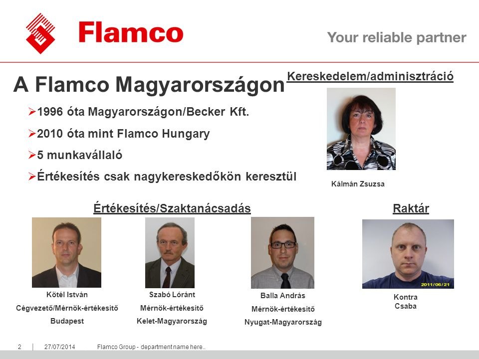 || Flamco Group 327/07/2014Flamco Group - department name here..