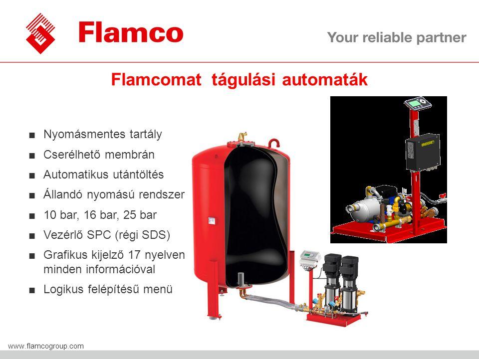 Flamco Group www.flamcogroup.com Flamcomat tágulási automaták ■Nyomásmentes tartály ■Cserélhető membrán ■Automatikus utántöltés ■Állandó nyomású rendszer ■10 bar, 16 bar, 25 bar ■Vezérlő SPC (régi SDS) ■Grafikus kijelző 17 nyelven minden információval ■Logikus felépítésű menü