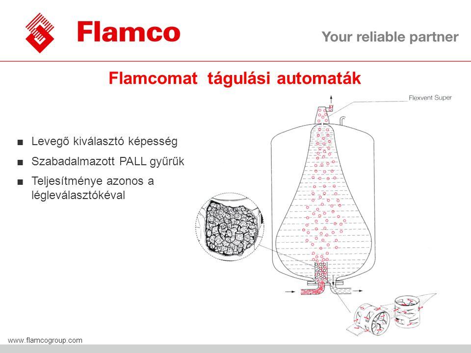 Flamco Group www.flamcogroup.com Flamcomat tágulási automaták ■Levegő kiválasztó képesség ■Szabadalmazott PALL gyűrűk ■Teljesítménye azonos a légleválasztókéval