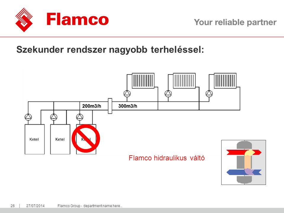 || Flamco Group 2627/07/2014Flamco Group - department name here.. Szekunder rendszer nagyobb terheléssel: 300m3/h200m3/h Flamco hidraulikus váltó