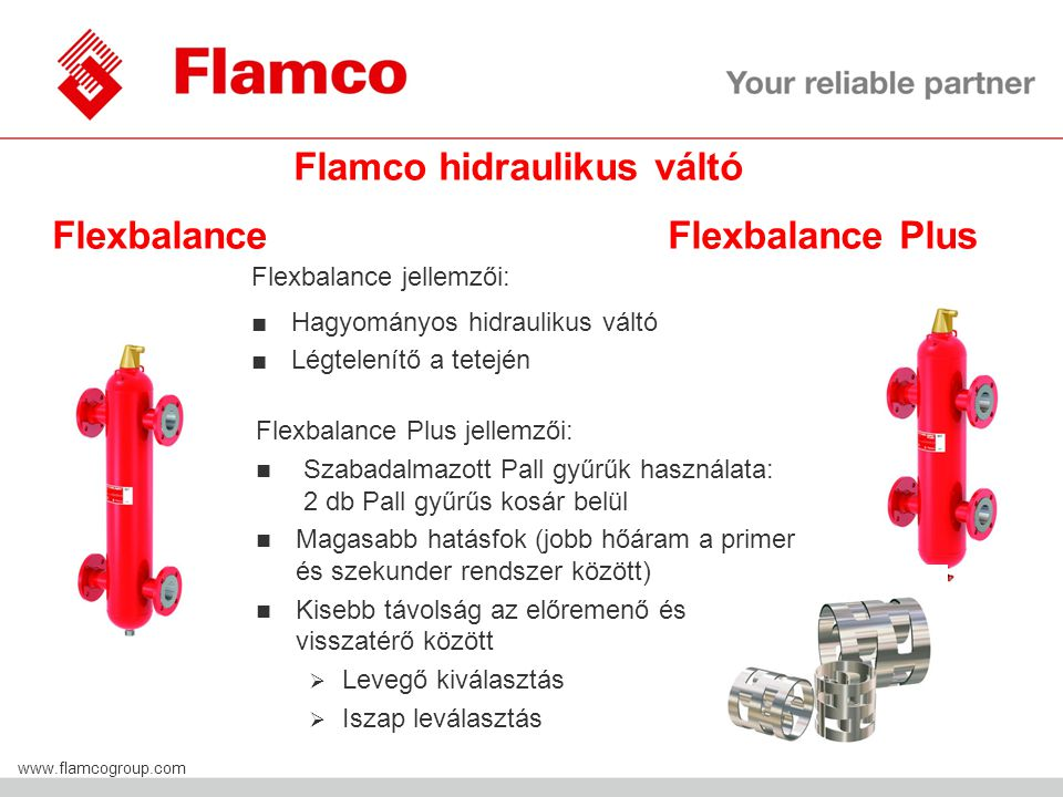 Flamco Group www.flamcogroup.com Flamco hidraulikus váltó Flexbalance Flexbalance Plus Flexbalance jellemzői: ■Hagyományos hidraulikus váltó ■Légtelen