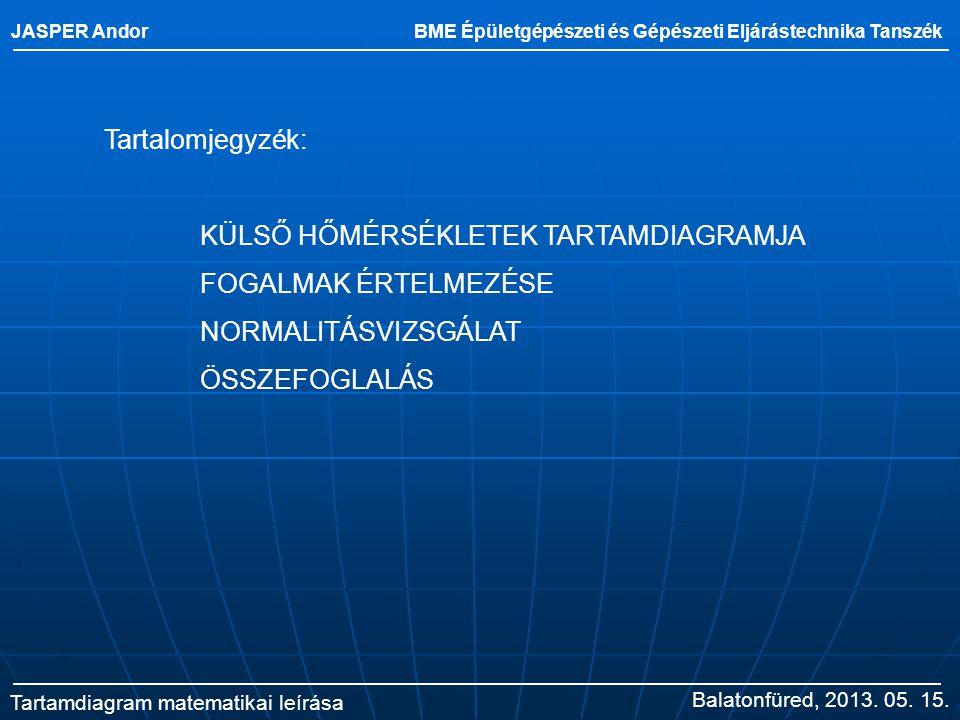 JASPER Andor BME Épületgépészeti és Gépészeti Eljárástechnika Tanszék Tartamdiagram matematikai leírása Balatonfüred, 2013. 05. 15. Tartalomjegyzék: K