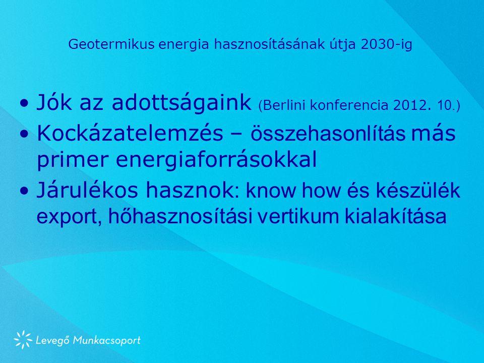 Geotermikus energia hasznosításának útja 2030-ig Jók az adottságaink ( Berlini konferencia 2012. 10.) Kockázatelemzés – összehasonlítás más primer ene