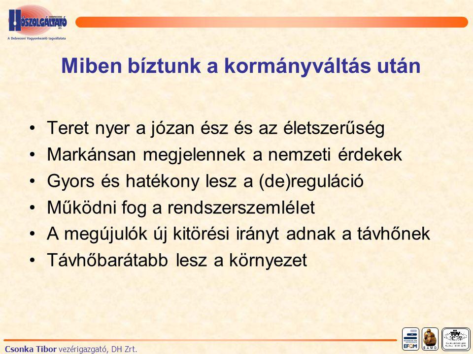 Miben bíztunk a kormányváltás után Teret nyer a józan ész és az életszerűség Markánsan megjelennek a nemzeti érdekek Gyors és hatékony lesz a (de)reguláció Működni fog a rendszerszemlélet A megújulók új kitörési irányt adnak a távhőnek Távhőbarátabb lesz a környezet DIN EN ISO 9001:2000 Zertifikat 15 100 42178 É A M D Csonka Tibor vezérigazgató, DH Zrt.