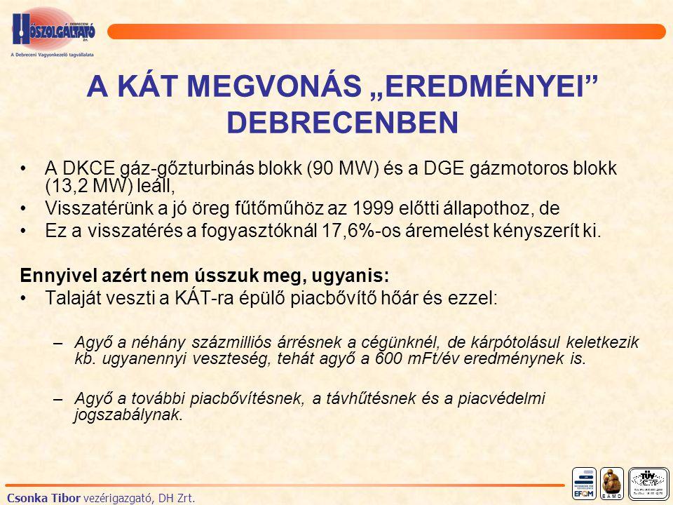"""A KÁT MEGVONÁS """"EREDMÉNYEI DEBRECENBEN A DKCE gáz-gőzturbinás blokk (90 MW) és a DGE gázmotoros blokk (13,2 MW) leáll, Visszatérünk a jó öreg fűtőműhöz az 1999 előtti állapothoz, de Ez a visszatérés a fogyasztóknál 17,6%-os áremelést kényszerít ki."""