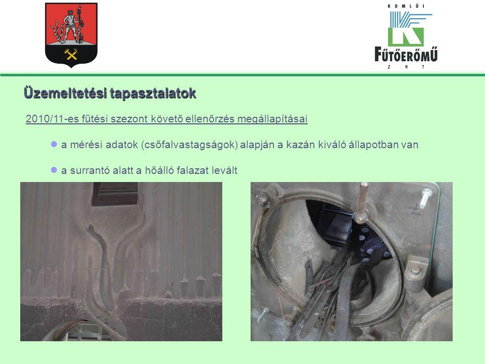 Üzemeltetési tapasztalatok 2010/11-es fűtési szezont követő ellenőrzés megállapításai a mérési adatok (csőfalvastagságok) alapján a kazán kiváló állapotban van a surrantó alatt a hőálló falazat levált