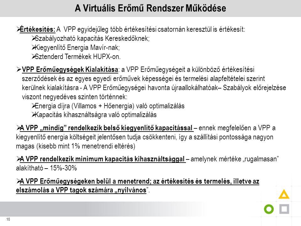 16 A Virtuális Erőmű Rendszer Működése  Értékesítés: A VPP egyidejűleg több értékesítési csatornán keresztül is értékesít:  Szabályozható kapacitás