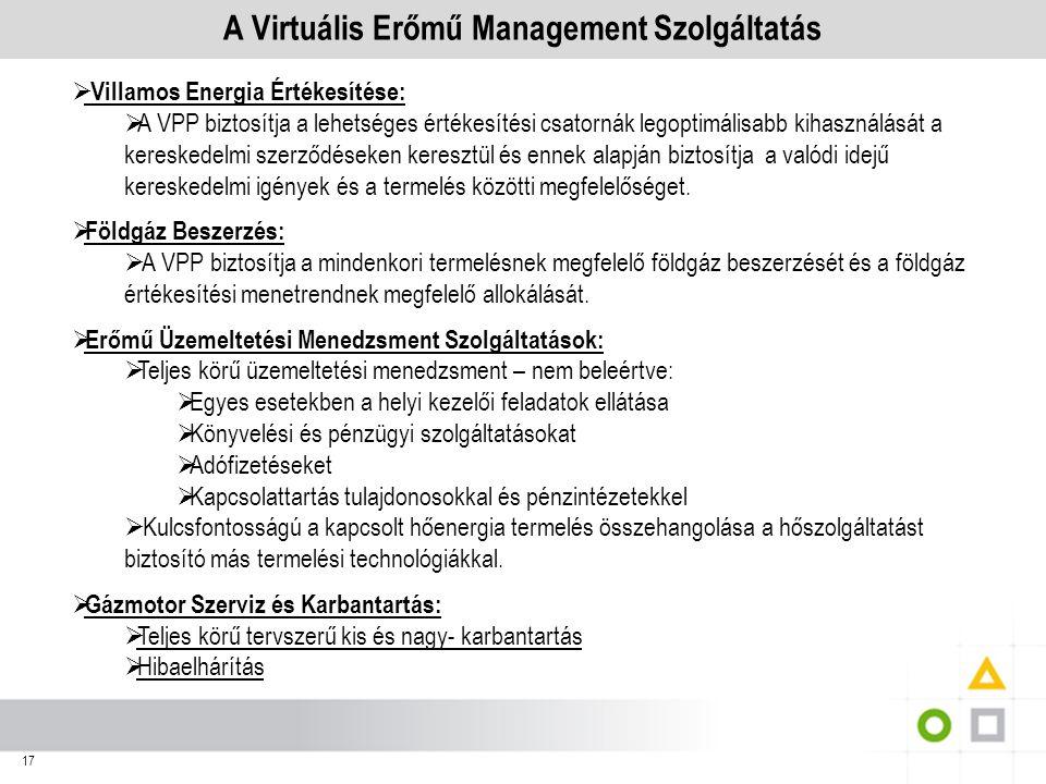 17 A Virtuális Erőmű Management Szolgáltatás  Villamos Energia Értékesítése:  A VPP biztosítja a lehetséges értékesítési csatornák legoptimálisabb k