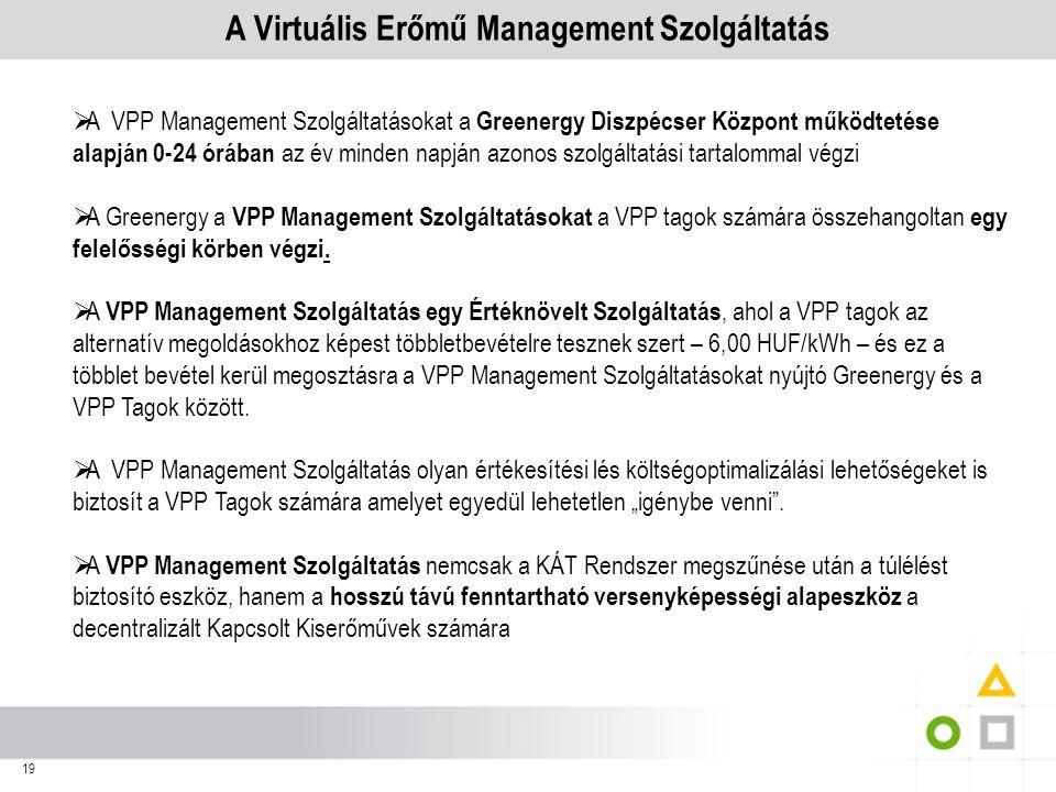 19 A Virtuális Erőmű Management Szolgáltatás  A VPP Management Szolgáltatásokat a Greenergy Diszpécser Központ működtetése alapján 0-24 órában az év