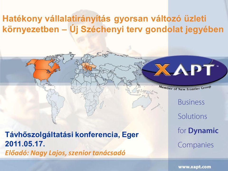 Hatékony vállalatirányítás gyorsan változó üzleti környezetben – Új Széchenyi terv gondolat jegyében Távhőszolgáltatási konferencia, Eger 2011.05.17.