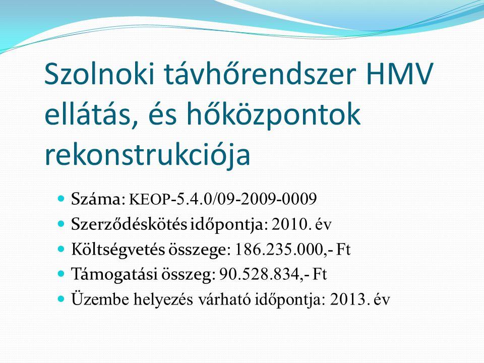 Szolnoki távhőrendszer HMV ellátás, és hőközpontok rekonstrukciója Száma: KEOP -5.4.0/09-2009-0009 Szerződéskötés időpontja: 2010. év Költségvetés öss