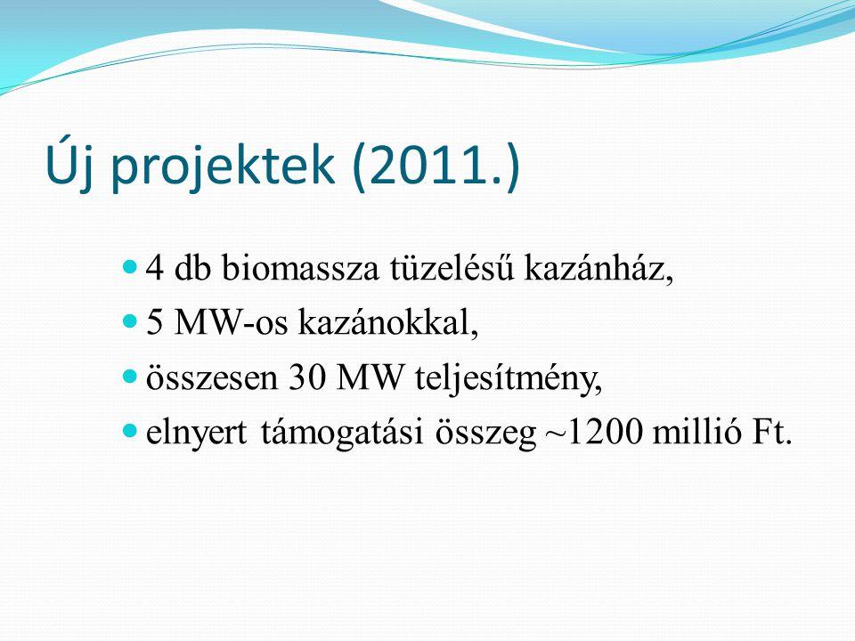 Új projektek (2011.) 4 db biomassza tüzelésű kazánház, 5 MW-os kazánokkal, összesen 30 MW teljesítmény, elnyert támogatási összeg ~1200 millió Ft.