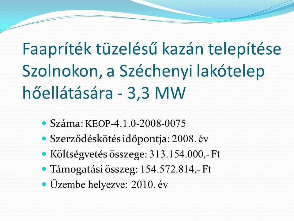 Faapríték tüzelésű kazán telepítése Szolnokon, a Széchenyi lakótelep hőellátására - 3,3 MW Száma: KEOP -4.1.0-2008-0075 Szerződéskötés időpontja: 2008