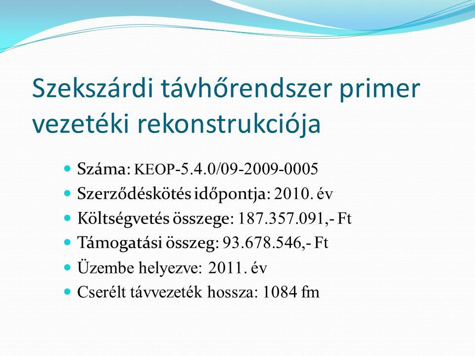 Szekszárdi távhőrendszer primer vezetéki rekonstrukciója Száma: KEOP -5.4.0/09-2009-0005 Szerződéskötés időpontja: 2010. év Költségvetés összege: 187.