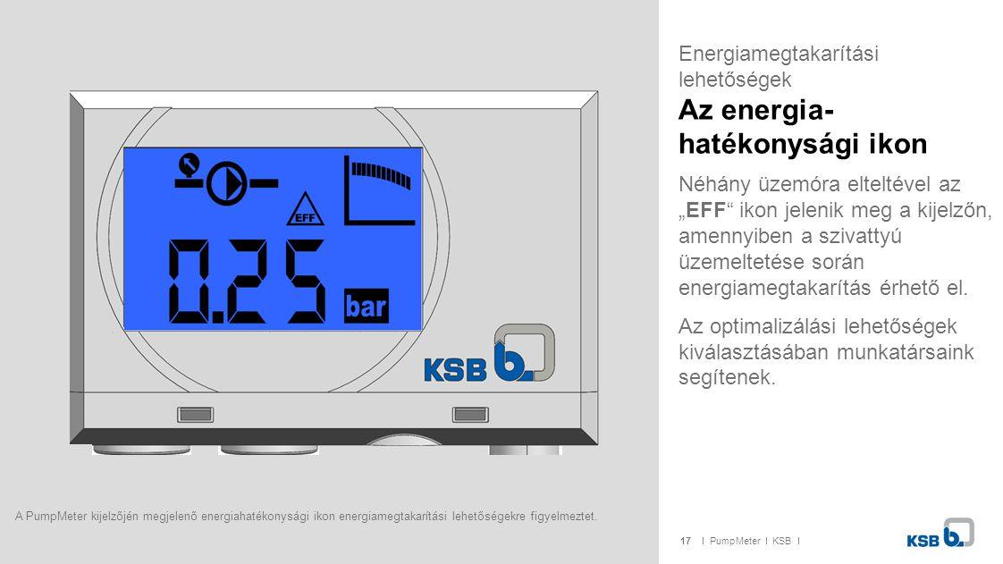 """17I PumpMeter I KSB I Néhány üzemóra elteltével az """"EFF"""" ikon jelenik meg a kijelzőn, amennyiben a szivattyú üzemeltetése során energiamegtakarítás ér"""
