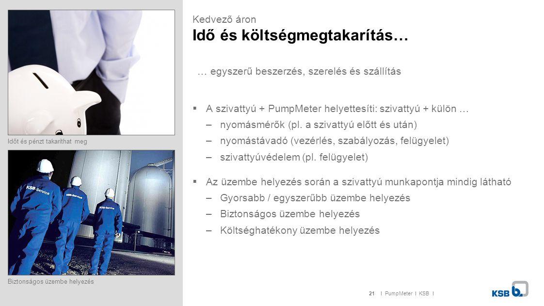 21I PumpMeter I KSB I Kedvező áron Idő és költségmegtakarítás…  A szivattyú + PumpMeter helyettesíti: szivattyú + külön … –nyomásmérők (pl. a szivatt