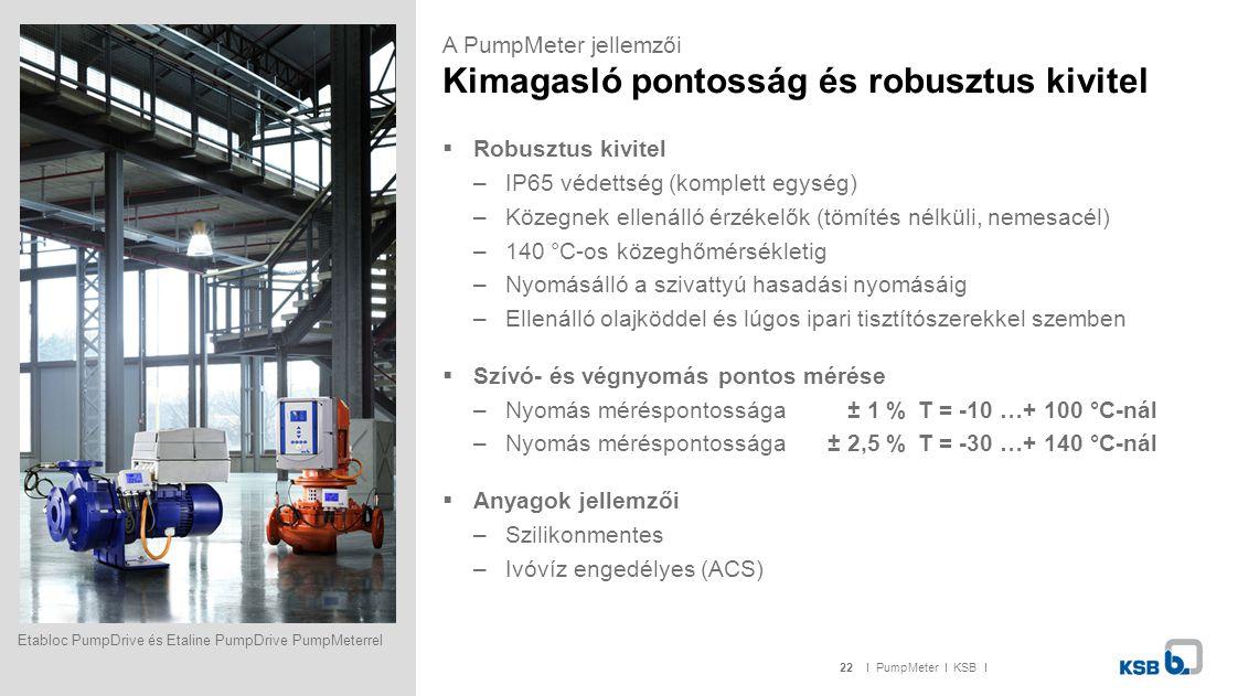 22I PumpMeter I KSB I  Robusztus kivitel –IP65 védettség (komplett egység) –Közegnek ellenálló érzékelők (tömítés nélküli, nemesacél) –140 °C-os köze