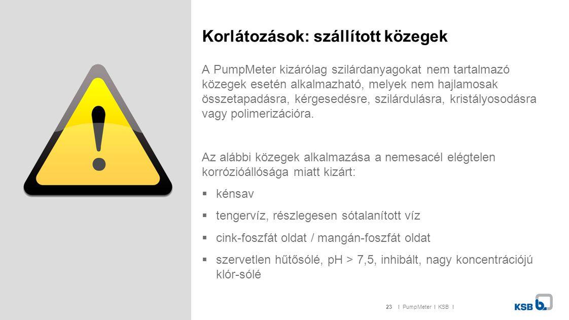 23I PumpMeter I KSB I Korlátozások: szállított közegek A PumpMeter kizárólag szilárdanyagokat nem tartalmazó közegek esetén alkalmazható, melyek nem h